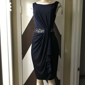 MAGGY London Navy blue with hand place stone dress